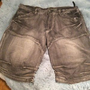 Washed black denim Bermuda shorts, EUC.